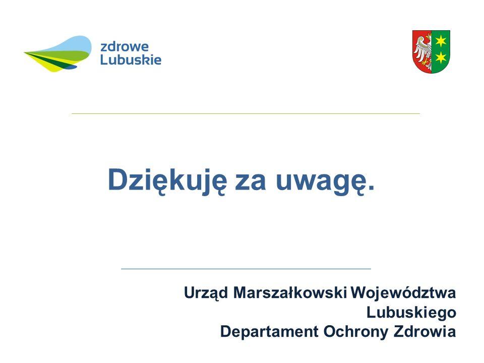 Dziękuję za uwagę.. Urząd Marszałkowski Województwa Lubuskiego Departament Ochrony Zdrowia