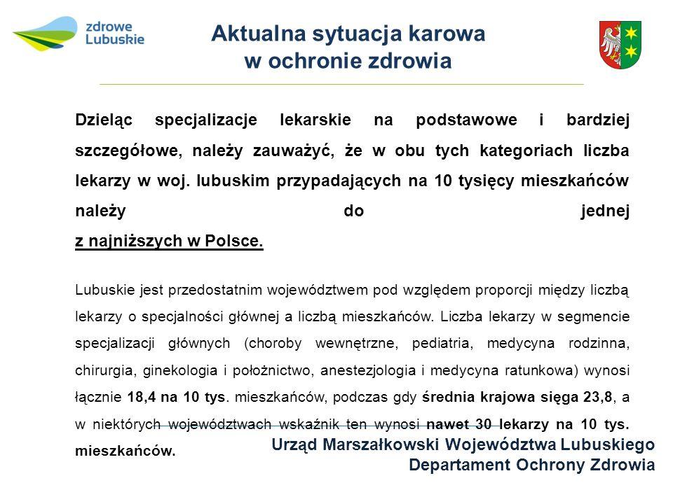 Urząd Marszałkowski Województwa Lubuskiego Departament Ochrony Zdrowia Aktualna sytuacja karowa w ochronie zdrowia Dzieląc specjalizacje lekarskie na