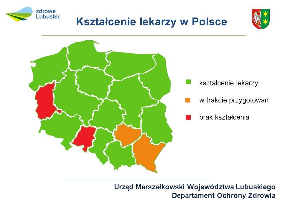 Urząd Marszałkowski Województwa Lubuskiego Departament Ochrony Zdrowia kształcenie lekarzy w trakcie przygotowań brak kształcenia Kształcenie lekarzy