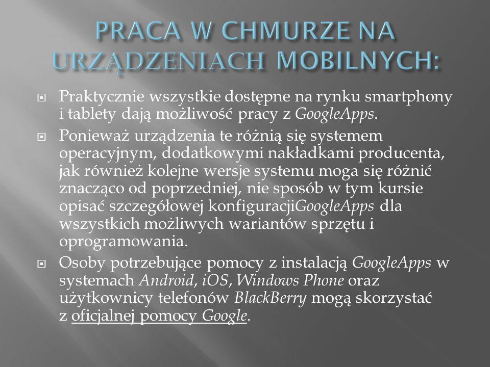 Praktycznie wszystkie dostępne na rynku smartphony i tablety dają możliwość pracy z GoogleApps.