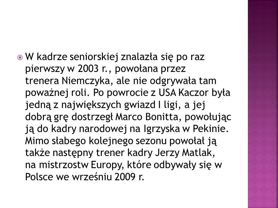 Gwardia Wrocław1995 – 2005 Idaho Twin Falls2005 – 2006 SC Trojans2006 – 2008 Gwardia Wrocław2008 Muszynianka Muszyna2008 – 2009 River Volley Piacenza2009 – 2010 Muszynianka Muszyna2010 – 2012 Tauron MKS Dąbrowa Górnicza2012 – 2013 Impel Wrocław od 2013