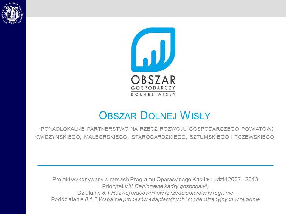 Projekt wykonywany w ramach Programu Operacyjnego Kapitał Ludzki 2007 - 2013 Priorytet VIII Regionalne kadry gospodarki, Działanie 8.1 Rozwój pracowników i przedsiębiorstw w regionie Poddziałanie 8.1.2 Wsparcie procesów adaptacyjnych i modernizacyjnych w regionie O BSZAR D OLNEJ W ISŁY – PONADLOKALNE PARTNERSTWO NA RZECZ ROZWOJU GOSPODARCZEGO POWIATÓW : KWIDZYŃSKIEGO, MALBORSKIEGO, STAROGARDZKIEGO, SZTUMSKIEGO I TCZEWSKIEGO