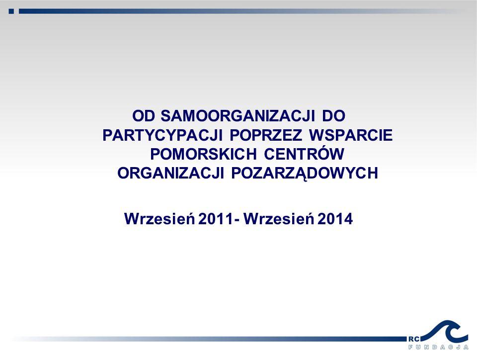 OD SAMOORGANIZACJI DO PARTYCYPACJI POPRZEZ WSPARCIE POMORSKICH CENTRÓW ORGANIZACJI POZARZĄDOWYCH Wrzesień 2011- Wrzesień 2014