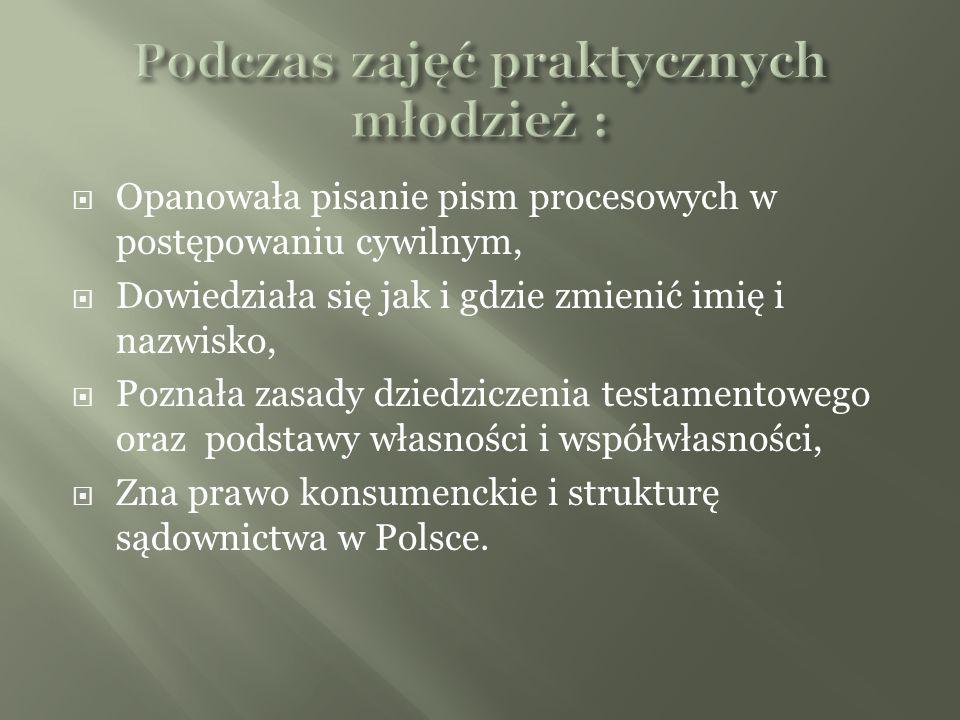 Opanowała pisanie pism procesowych w postępowaniu cywilnym, Dowiedziała się jak i gdzie zmienić imię i nazwisko, Poznała zasady dziedziczenia testamentowego oraz podstawy własności i współwłasności, Zna prawo konsumenckie i strukturę sądownictwa w Polsce.