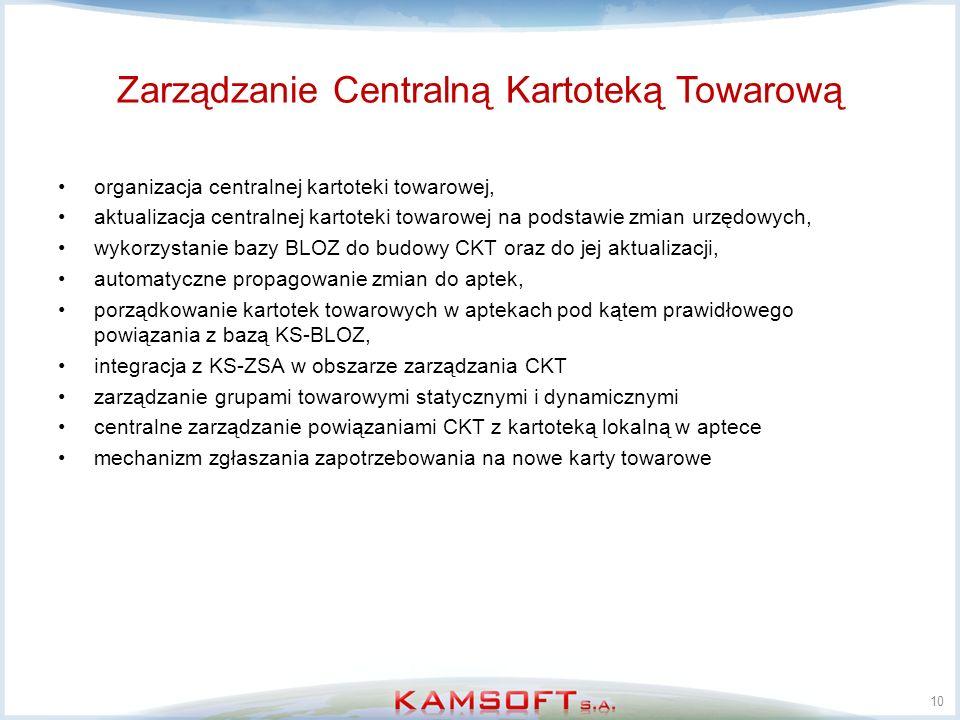 organizacja centralnej kartoteki towarowej, aktualizacja centralnej kartoteki towarowej na podstawie zmian urzędowych, wykorzystanie bazy BLOZ do budo