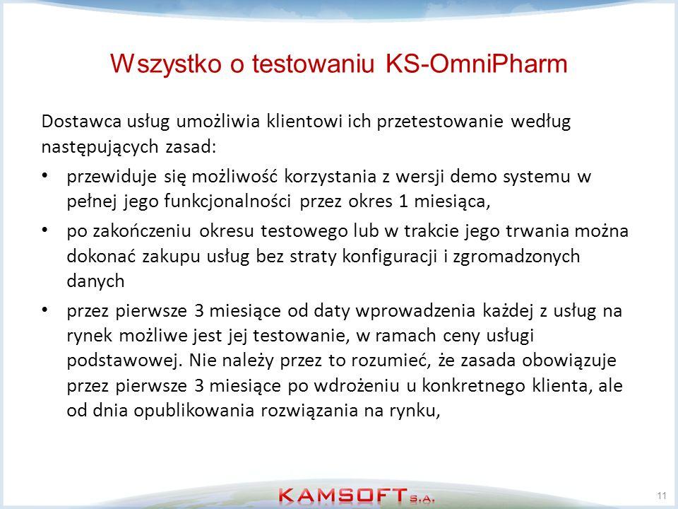 Wszystko o testowaniu KS-OmniPharm Dostawca usług umożliwia klientowi ich przetestowanie według następujących zasad: przewiduje się możliwość korzysta