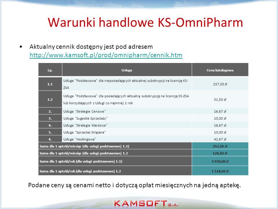 Warunki handlowe KS-OmniPharm Aktualny cennik dostępny jest pod adresem http://www.kamsoft.pl/prod/omnipharm/cennik.htm http://www.kamsoft.pl/prod/omn