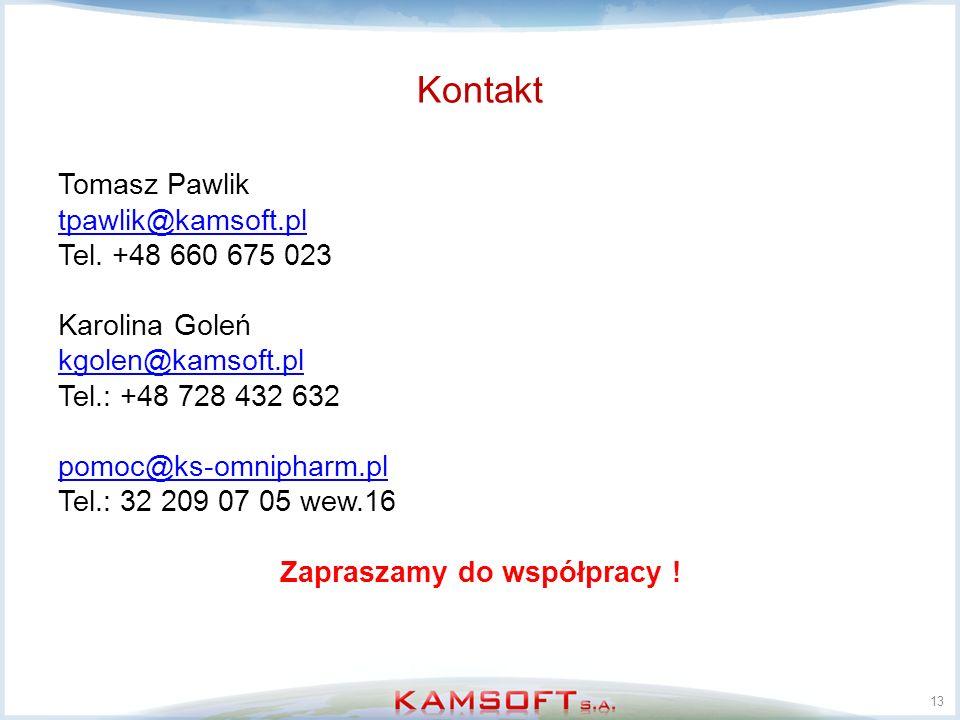 Kontakt Tomasz Pawlik tpawlik@kamsoft.pl Tel. +48 660 675 023 Karolina Goleń kgolen@kamsoft.pl Tel.: +48 728 432 632 pomoc@ks-omnipharm.pl Tel.: 32 20
