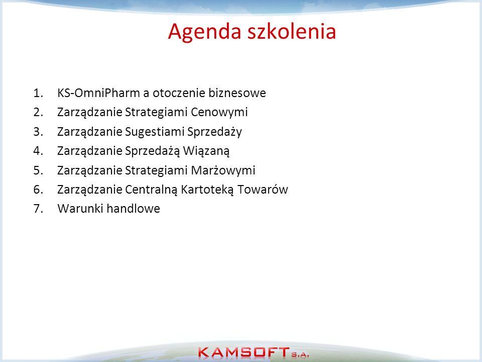 Agenda szkolenia 1.KS-OmniPharm a otoczenie biznesowe 2.Zarządzanie Strategiami Cenowymi 3.Zarządzanie Sugestiami Sprzedaży 4.Zarządzanie Sprzedażą Wi