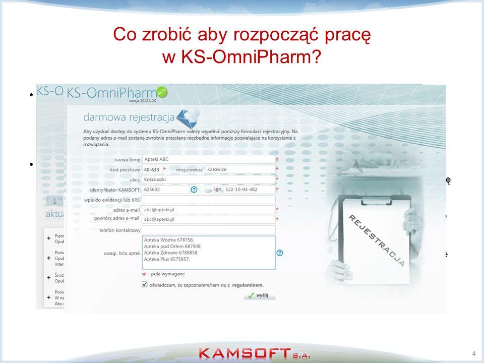 Co zrobić aby rozpocząć pracę w KS-OmniPharm? Właściwie niewiele: –zapewnić dostęp do internetu, –jednokrotne odwiedzić apteki celem instalacji narzęd