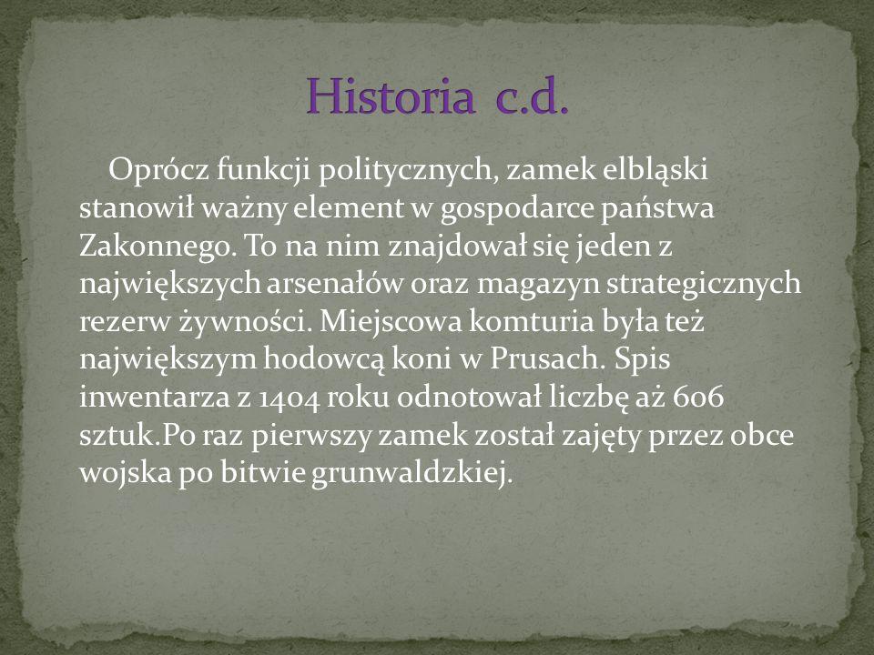 Oprócz funkcji politycznych, zamek elbląski stanowił ważny element w gospodarce państwa Zakonnego.