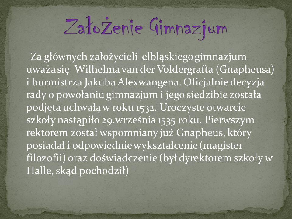 Za głównych założycieli elbląskiego gimnazjum uważa się Wilhelma van der Voldergrafta (Gnapheusa) i burmistrza Jakuba Alexwangena.