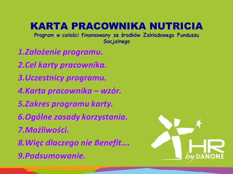 KARTA PRACOWNIKA NUTRICIA Program w całości finansowany ze środków Zakładowego Funduszu Socjalnego 1.Założenie programu. 2.Cel karty pracownika. 3.Ucz