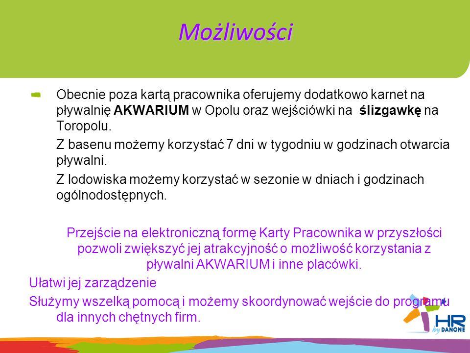 Możliwości Obecnie poza kartą pracownika oferujemy dodatkowo karnet na pływalnię AKWARIUM w Opolu oraz wejściówki na ślizgawkę na Toropolu. Z basenu m