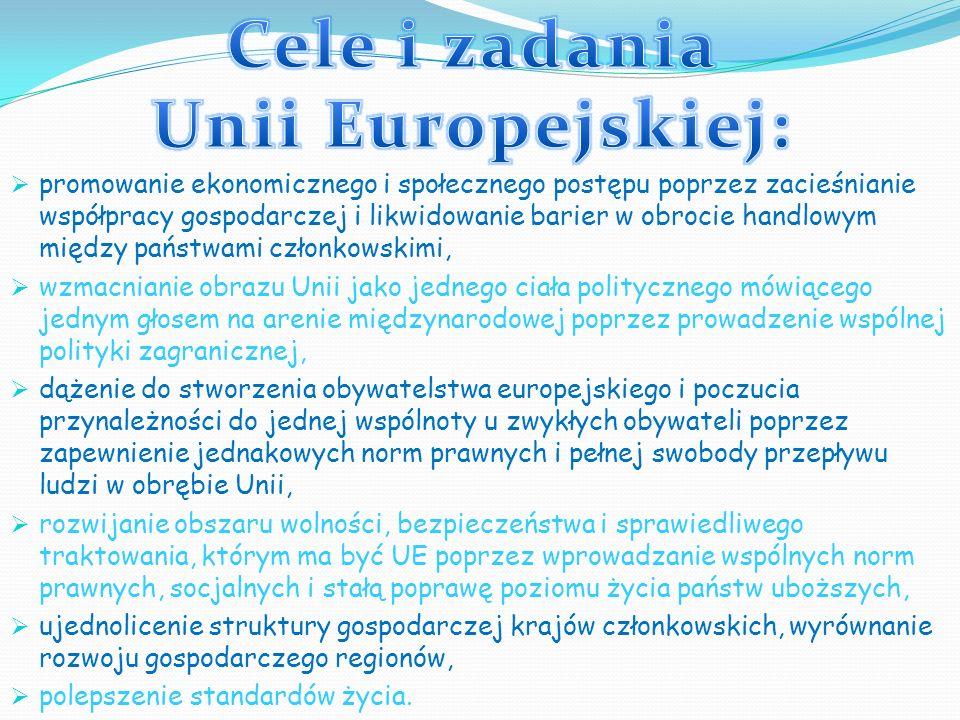 promowanie ekonomicznego i społecznego postępu poprzez zacieśnianie współpracy gospodarczej i likwidowanie barier w obrocie handlowym między państwami