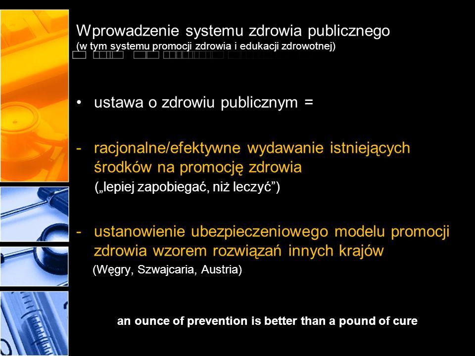 Wprowadzenie systemu zdrowia publicznego (w tym systemu promocji zdrowia i edukacji zdrowotnej) ustawa o zdrowiu publicznym = -racjonalne/efektywne wy
