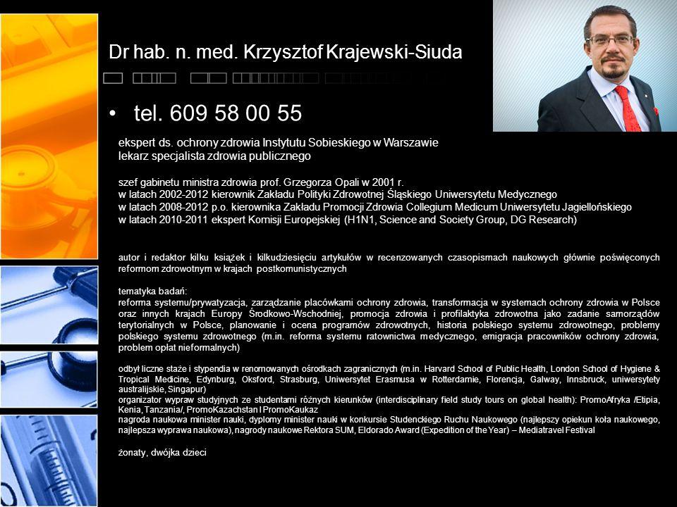 Dr hab. n. med. Krzysztof Krajewski-Siuda tel. 609 58 00 55 ekspert ds. ochrony zdrowia Instytutu Sobieskiego w Warszawie lekarz specjalista zdrowia p