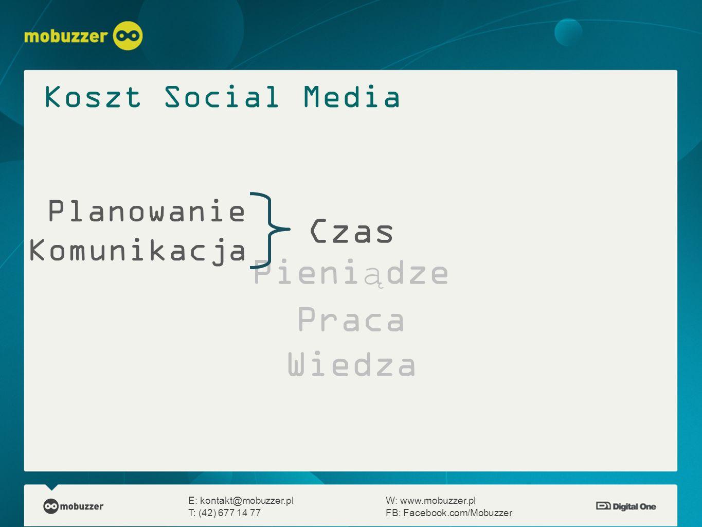 Czas Pieniądze Praca Wiedza E: kontakt@mobuzzer.plW: www.mobuzzer.pl T: (42) 677 14 77FB: Facebook.com/Mobuzzer Planowanie Komunikacja Koszt Social Me