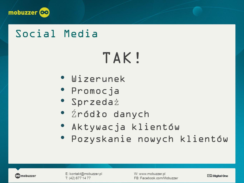 E: kontakt@mobuzzer.plW: www.mobuzzer.pl T: (42) 677 14 77FB: Facebook.com/Mobuzzer Social Media TAK! Wizerunek Promocja Sprzedaż Źródło danych Aktywa