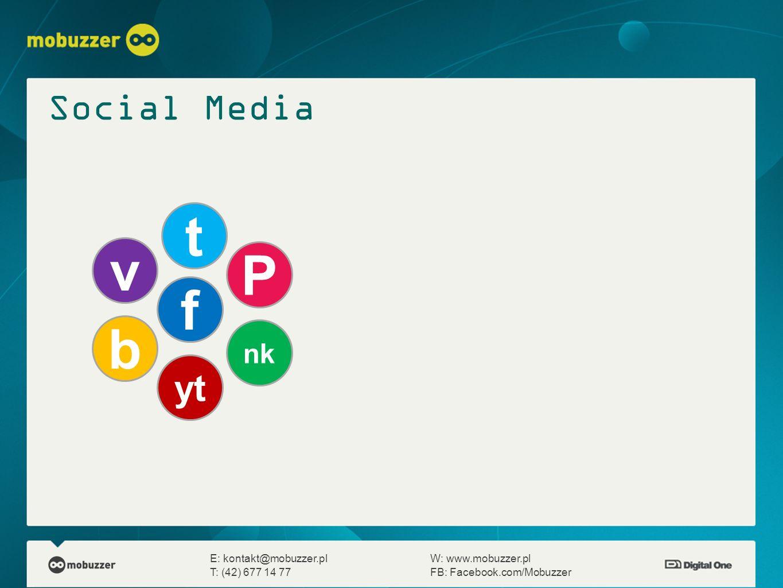 E: kontakt@mobuzzer.plW: www.mobuzzer.pl T: (42) 677 14 77FB: Facebook.com/Mobuzzer f t b yt nk P v Social Media