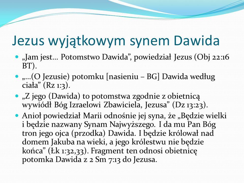 Jezus wyjątkowym synem Dawida Jam jest… Potomstwo Dawida, powiedział Jezus (Obj 22:16 BT).