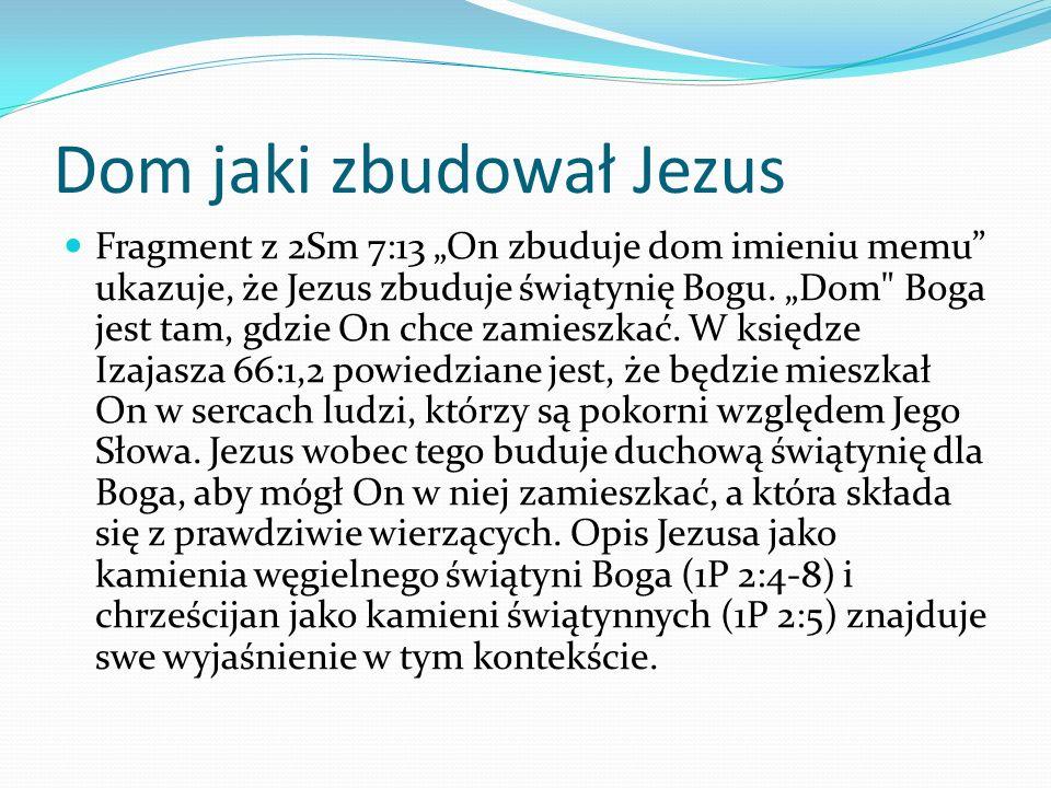 Dom jaki zbudował Jezus Fragment z 2Sm 7:13 On zbuduje dom imieniu memu ukazuje, że Jezus zbuduje świątynię Bogu.
