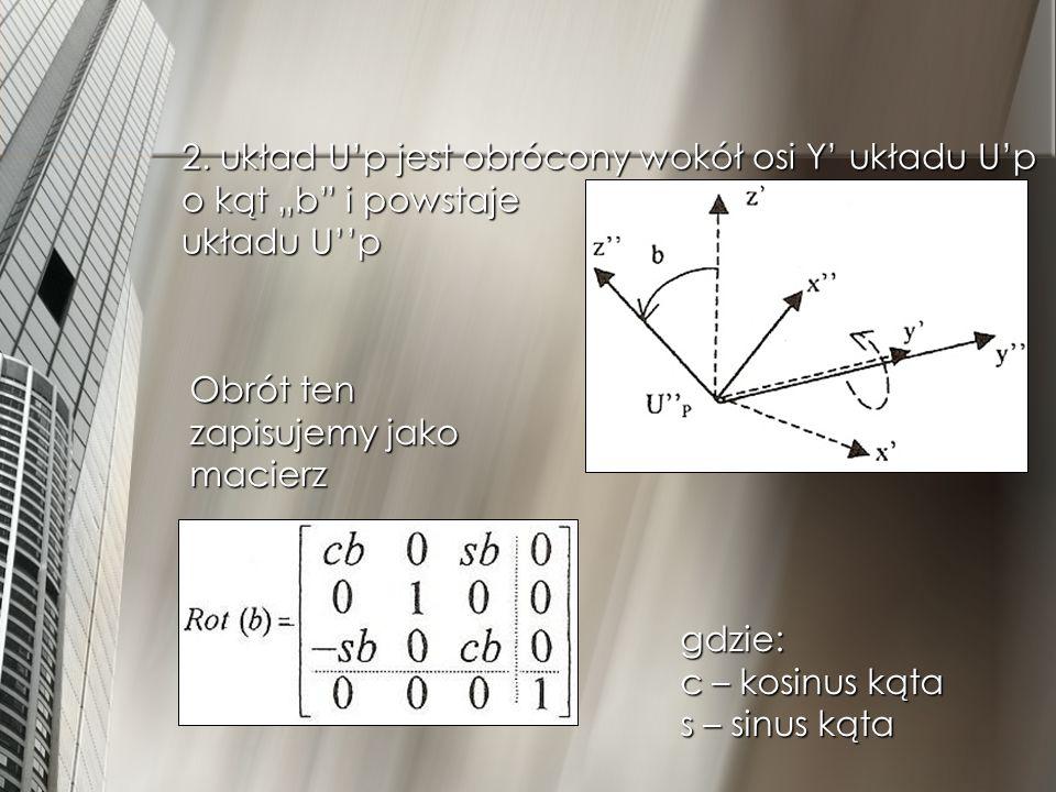 2. układ Up jest obrócony wokół osi Y układu Up o kąt b i powstaje układu Up Obrót ten zapisujemy jako macierz gdzie: c – kosinus kąta s – sinus kąta