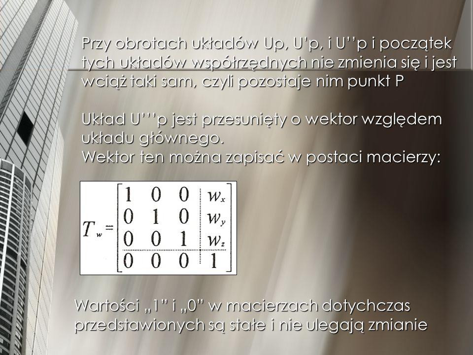 Tak więc orientacja układu Up względem układu głównego jest iloczynem macierzy obrotu i translacji czyli: Tp = Rot(a)*Rot(b)*Rot(c)*Tw Wynikiem tego iloczynu jest macierz gdzie: a, b, c, d, e, f, g, h, i – to orientacja układu Up względem układu głównego (tj.