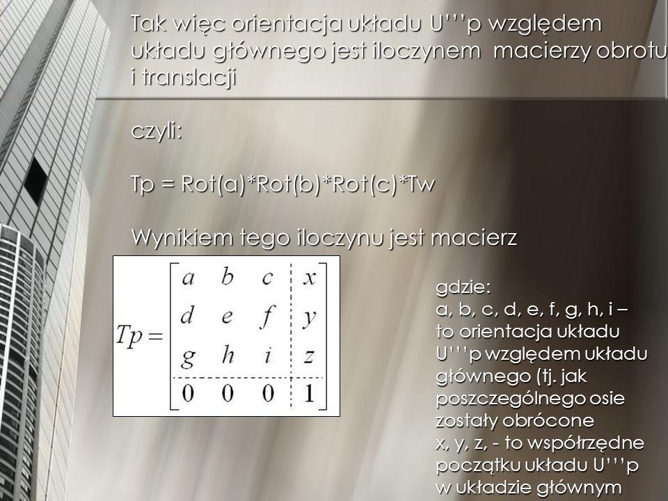 Aby obliczyć położenie punktu C względem głównego układu należy macierz Tp przemnożyć przez macierz punktu C (Tc) T gł = Tp*Tc gdzie: X gł, Y gł, Z gł – współrzędne punktu C w układzie głównym