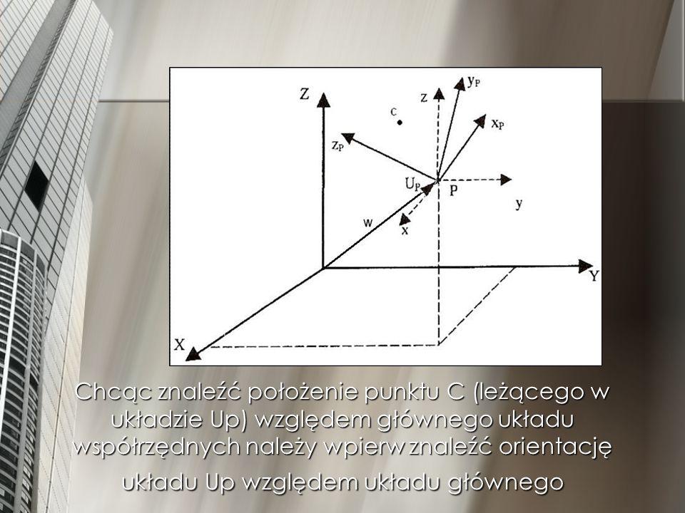 Układ współrzędnych Up jest obrócony względem układu głownego 1.