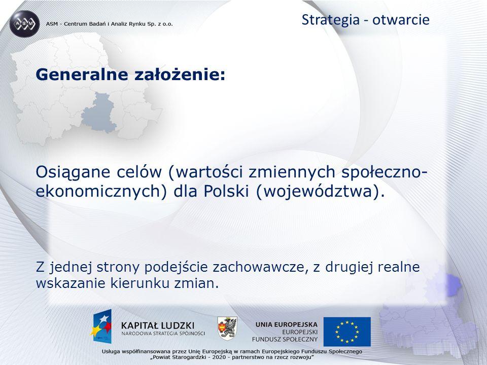 Generalne założenie: Osiągane celów (wartości zmiennych społeczno- ekonomicznych) dla Polski (województwa).