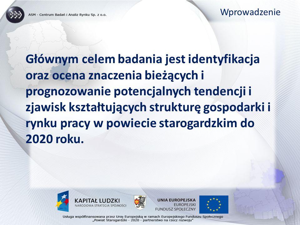 Głównym celem badania jest identyfikacja oraz ocena znaczenia bieżących i prognozowanie potencjalnych tendencji i zjawisk kształtujących strukturę gospodarki i rynku pracy w powiecie starogardzkim do 2020 roku.