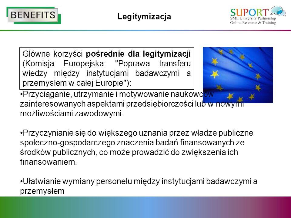 Legitymizacja Główne korzyści pośrednie dla legitymizacji (Komisja Europejska: Poprawa transferu wiedzy między instytucjami badawczymi a przemysłem w całej Europie ): Przyciąganie, utrzymanie i motywowanie naukowców zainteresowanych aspektami przedsiębiorczości lub w nowymi możliwościami zawodowymi.