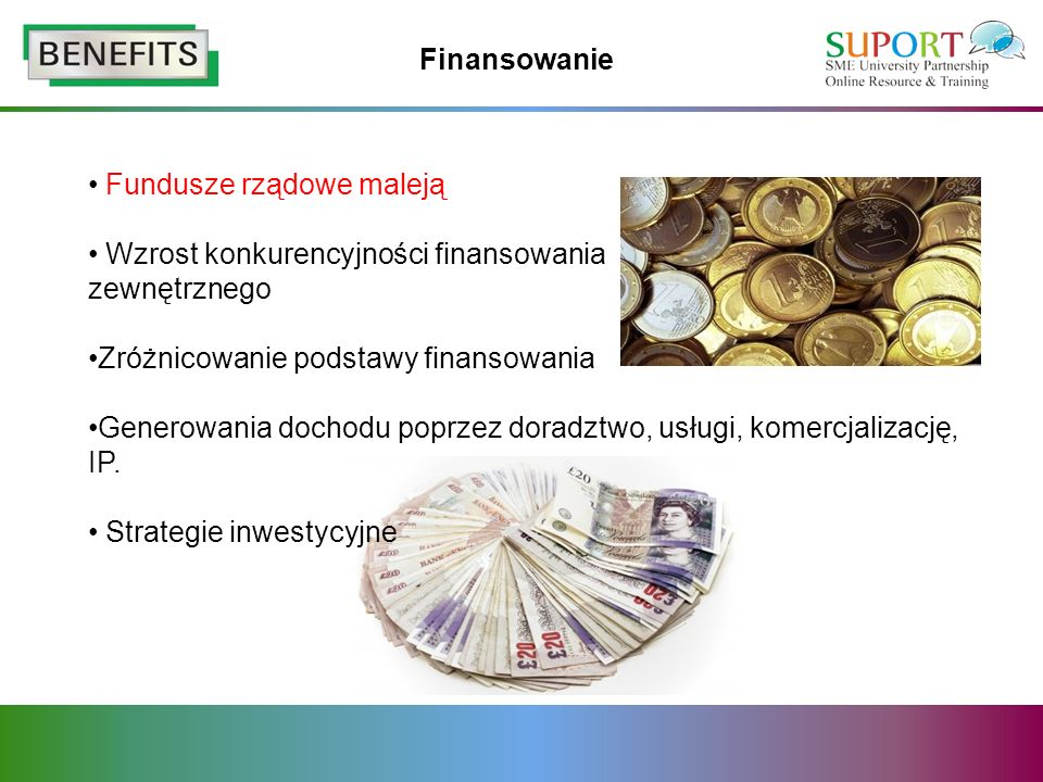 Finansowanie Fundusze rządowe maleją Wzrost konkurencyjności finansowania zewnętrznego Zróżnicowanie podstawy finansowania Generowania dochodu poprzez doradztwo, usługi, komercjalizację, IP.