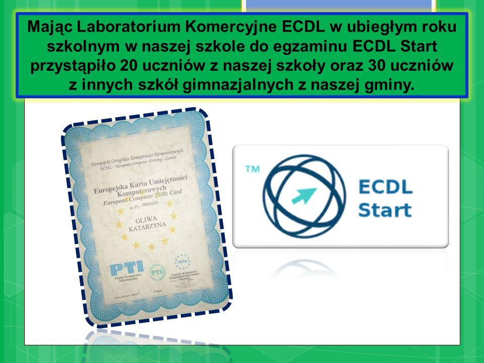 Mając Laboratorium Komercyjne ECDL w ubiegłym roku szkolnym w naszej szkole do egzaminu ECDL Start przystąpiło 20 uczniów z naszej szkoły oraz 30 uczniów z innych szkół gimnazjalnych z naszej gminy.