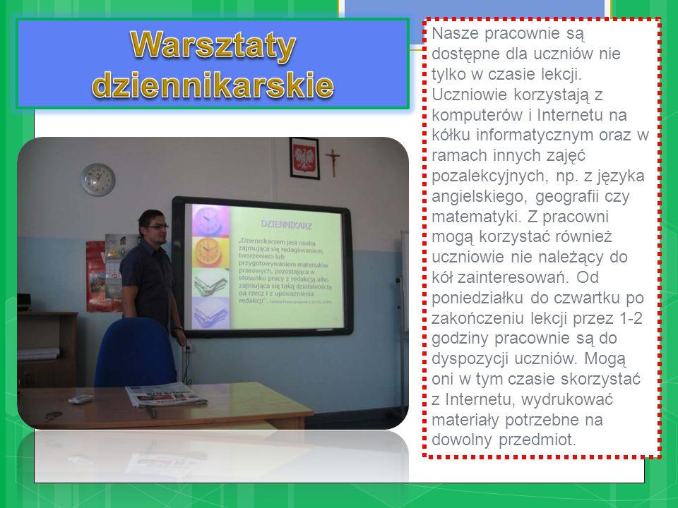 Nasze pracownie są dostępne dla uczniów nie tylko w czasie lekcji. Uczniowie korzystają z komputerów i Internetu na kółku informatycznym oraz w ramach