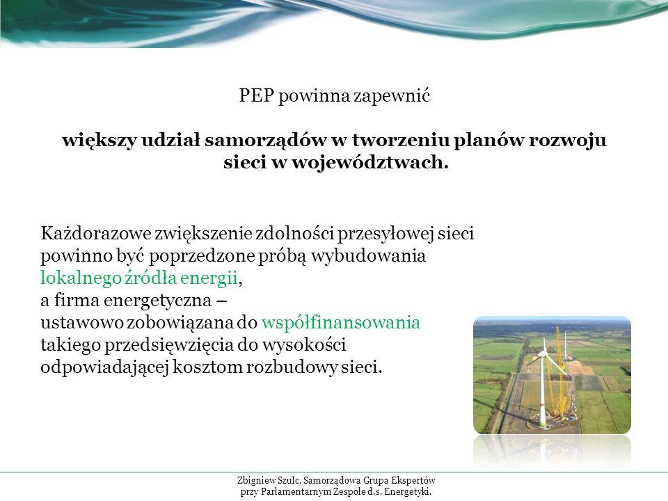 PEP powinna zapewnić większy udział samorządów w tworzeniu planów rozwoju sieci w województwach.