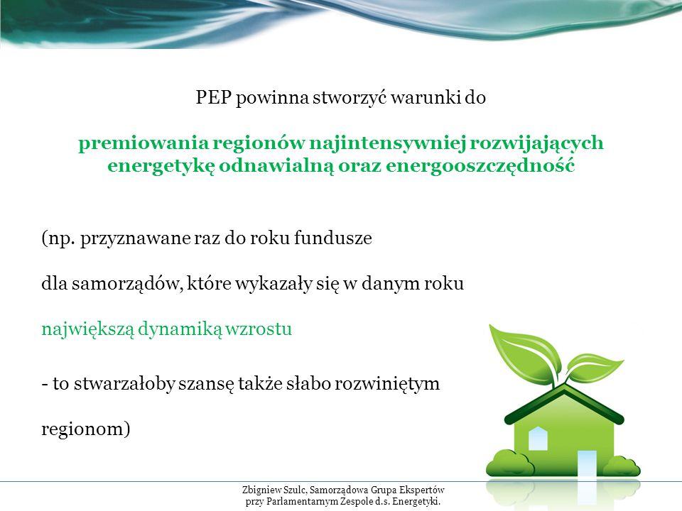 PEP powinna stworzyć warunki do premiowania regionów najintensywniej rozwijających energetykę odnawialną oraz energooszczędność (np.