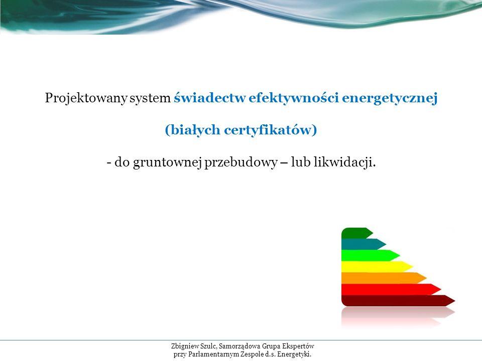 Projektowany system świadectw efektywności energetycznej (białych certyfikatów) - do gruntownej przebudowy – lub likwidacji.