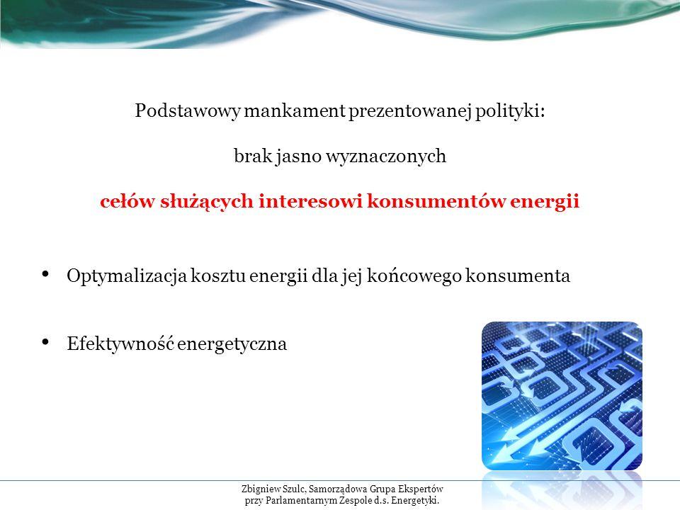 Podstawowy mankament prezentowanej polityki: brak jasno wyznaczonych cełów służących interesowi konsumentów energii Optymalizacja kosztu energii dla jej końcowego konsumenta Efektywność energetyczna Zbigniew Szulc, Samorządowa Grupa Ekspertów przy Parlamentarnym Zespole d.s.
