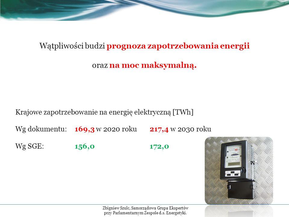 Wątpliwości budzi prognoza zapotrzebowania energii oraz na moc maksymalną.