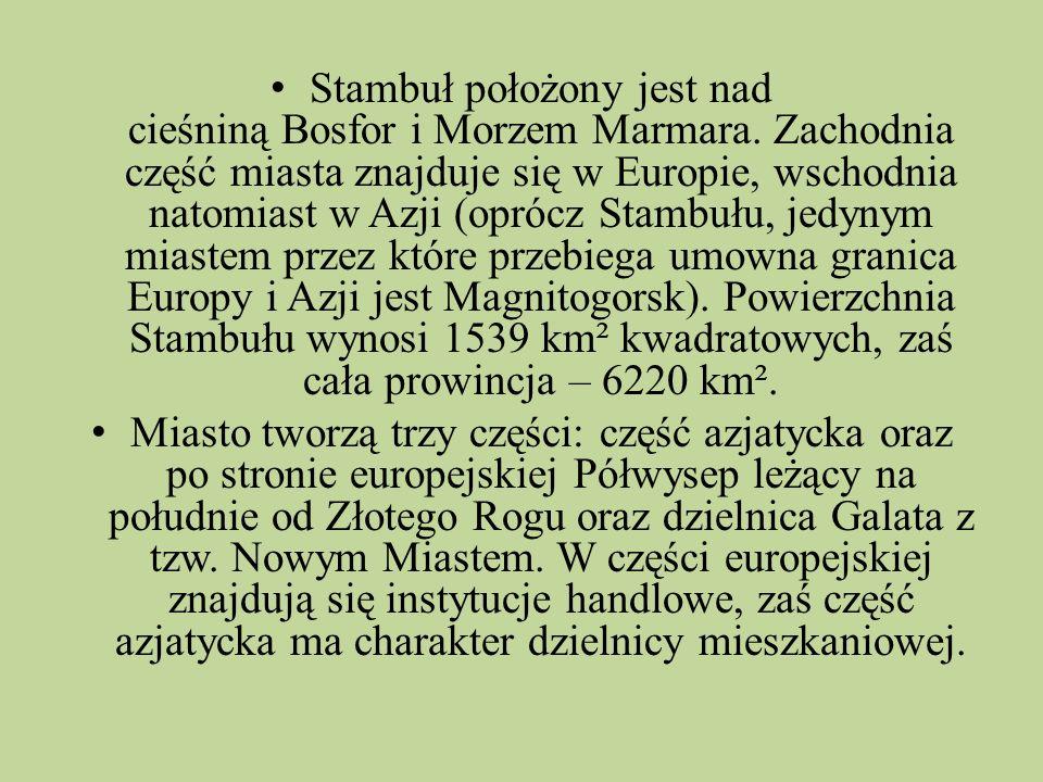 Stambuł położony jest nad cieśniną Bosfor i Morzem Marmara. Zachodnia część miasta znajduje się w Europie, wschodnia natomiast w Azji (oprócz Stambułu