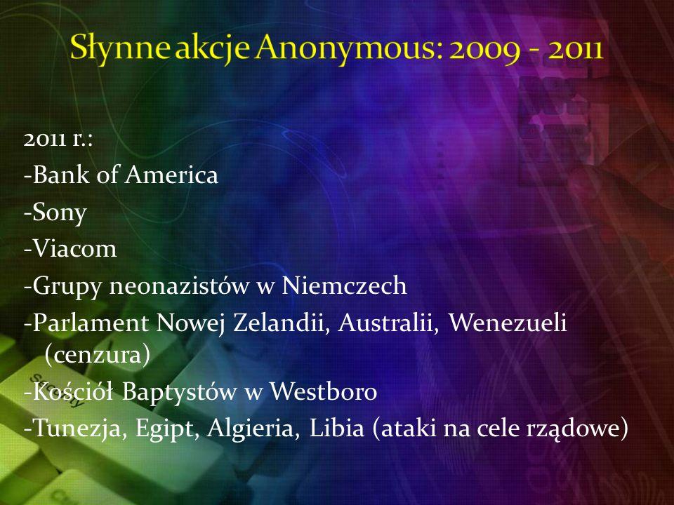 2011 r.: -Bank of America -Sony -Viacom -Grupy neonazistów w Niemczech -Parlament Nowej Zelandii, Australii, Wenezueli (cenzura) -Kościół Baptystów w Westboro -Tunezja, Egipt, Algieria, Libia (ataki na cele rządowe)