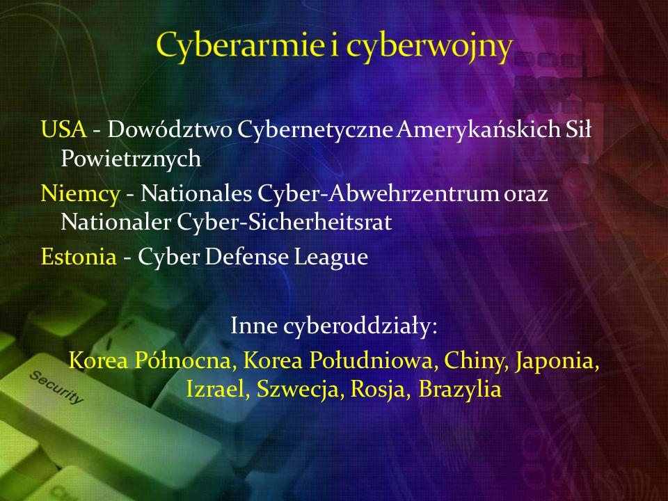 USA - Dowództwo Cybernetyczne Amerykańskich Sił Powietrznych Niemcy - Nationales Cyber-Abwehrzentrum oraz Nationaler Cyber-Sicherheitsrat Estonia - Cyber Defense League Inne cyberoddziały: Korea Północna, Korea Południowa, Chiny, Japonia, Izrael, Szwecja, Rosja, Brazylia