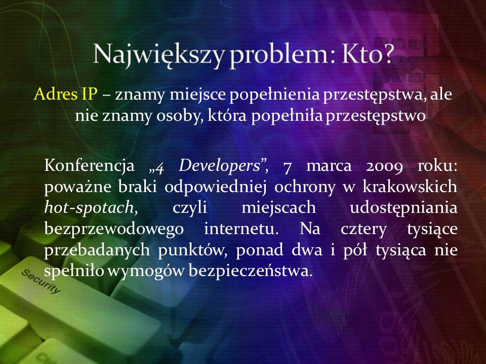 Adres IP – znamy miejsce popełnienia przestępstwa, ale nie znamy osoby, która popełniła przestępstwo Konferencja 4 Developers, 7 marca 2009 roku: poważne braki odpowiedniej ochrony w krakowskich hot-spotach, czyli miejscach udostępniania bezprzewodowego internetu.