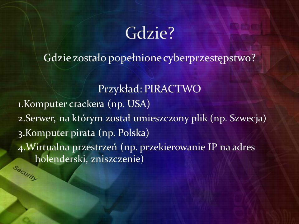 Gdzie zostało popełnione cyberprzestępstwo.Przykład: PIRACTWO 1.Komputer crackera (np.