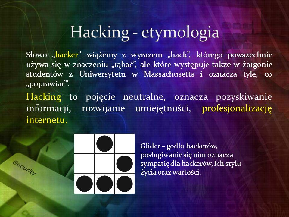 Słowo hacker wiążemy z wyrazem hack, którego powszechnie używa się w znaczeniu rąbać, ale które występuje także w żargonie studentów z Uniwersytetu w Massachusetts i oznacza tyle, co poprawiać.