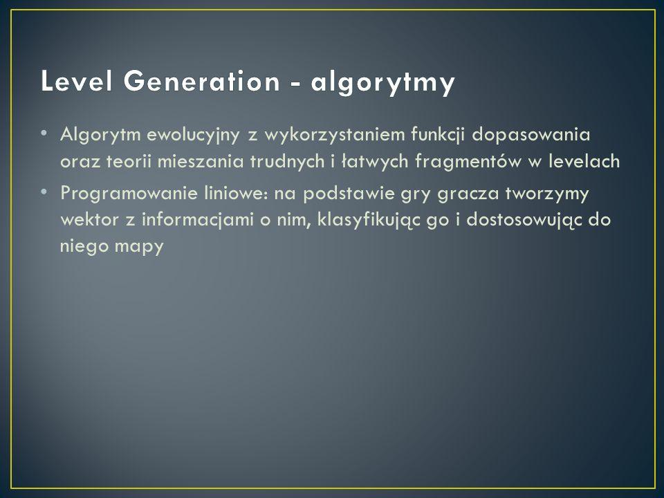 Algorytm ewolucyjny z wykorzystaniem funkcji dopasowania oraz teorii mieszania trudnych i łatwych fragmentów w levelach Programowanie liniowe: na pods