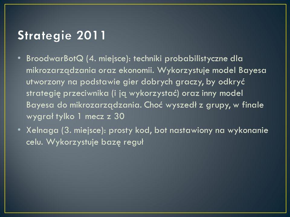 BroodwarBotQ (4. miejsce): techniki probabilistyczne dla mikrozarządzania oraz ekonomii. Wykorzystuje model Bayesa utworzony na podstawie gier dobrych