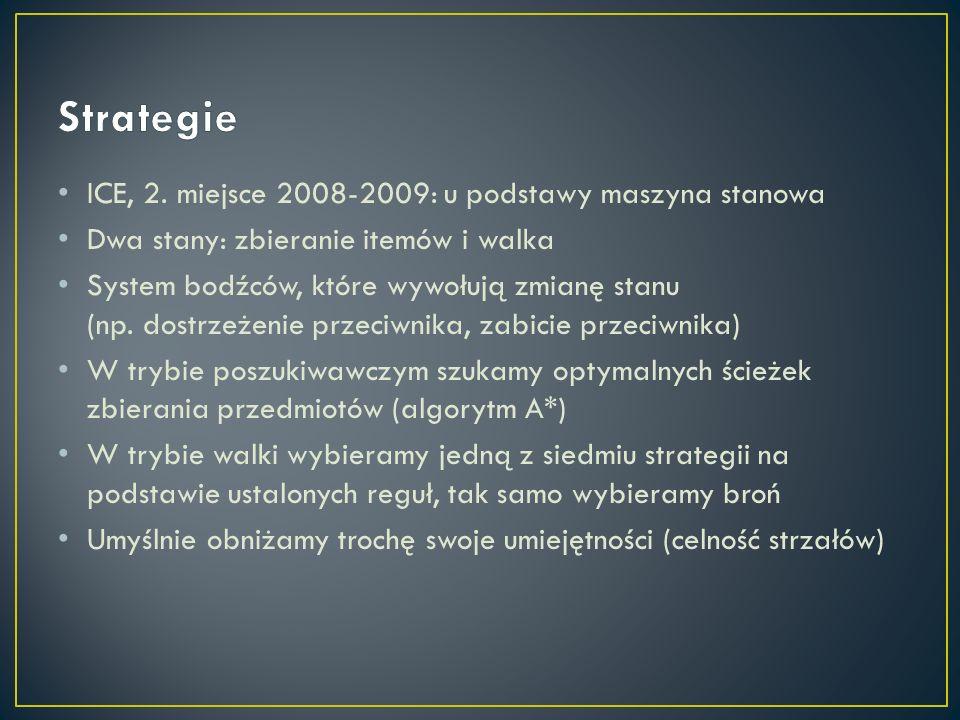 ICE, 2. miejsce 2008-2009: u podstawy maszyna stanowa Dwa stany: zbieranie itemów i walka System bodźców, które wywołują zmianę stanu (np. dostrzeżeni